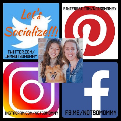 Collage with Twitter, Pinterest, Instagram, and FaceBook Logos on Contact Me page of Not So Mommy