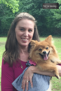 Photo of Brandi holding Maddie on Dog Mom Featured Article on Not So Mommy...