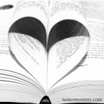 Photo of a single book with a few pages turned inward to look like a heart on Not So Mommy What a Great Story - Host Parents Blog
