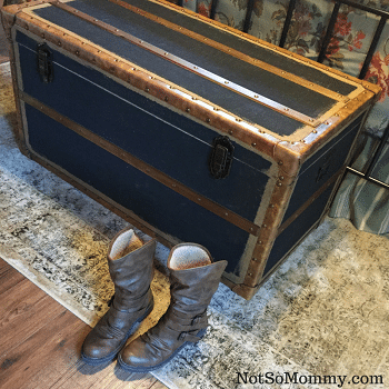 Photo of Brown Boots on Rug in front of a vintage trunk on Fashionista Article on Not So Mommy... Blog