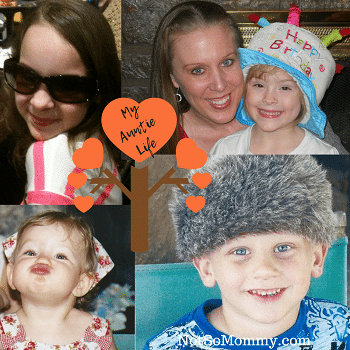Photo of my three nieces and nephew on Aunt (aka Tia) featured article on Aunt Blog on Not So Mommy