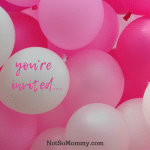 "Photo of pink and white ballons with ""you're invited"" written on white balloon on Baby Showers and Pregnancy Announcements: Not So Joyous for Some Infertility Blog on Not So Mommy"