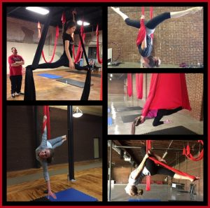 Photo Collage of Bruna and me doing aerial dance moves on Aerial: Silks, Dance, Fitness, Yoga on Host Mom Blog on Not So Mommy...