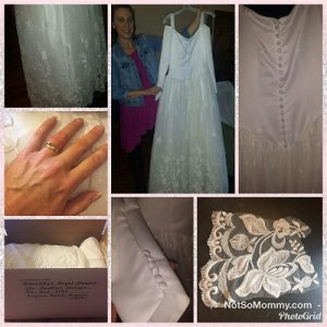 Photo Collage of Wedding Gown donated to Kennedy's Angel Gowns on Good Things Special Edition Blog on Not So Mommy...