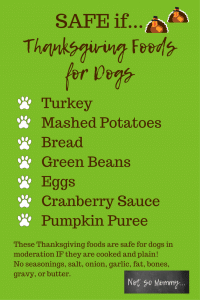 List of Safe if... Thanksgiving Foods for Dogs on Safe & Unsafe Thanksgiving Foods for Dogs on Dog Mom Blog on Not So Mommy...