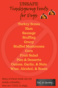 List of Unsafe Thanksgiving Foods for Dogs on Safe & Unsafe Thanksgiving Foods for Dogs on Dog Mom Blog on Not So Mommy...
