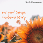 Photo of a sunflower on Our Good Things Candace's Story on Infertility Blog on Not So Mommy...