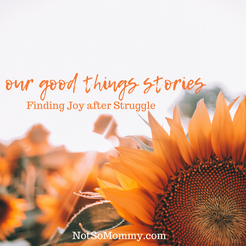 Photo of a sunflower on Our Good Things Stories: Finding Joy after Struggle on Not So Mommy...