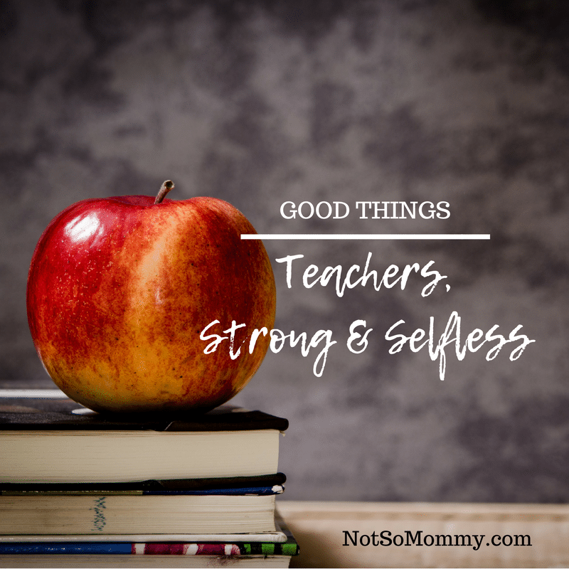 Photo of a red apple sitting on top of a stack of books on Teachers, Strong & Selfless on Good Things Blog on Not So Mommy...