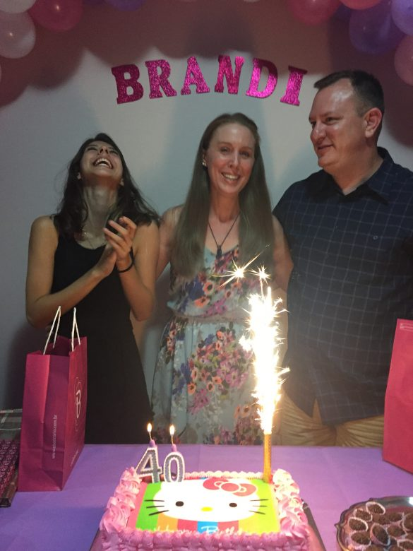 Photo of Brandi Lytle of Not So Mommy... on her 40th birthday with her exchange daughter and husband