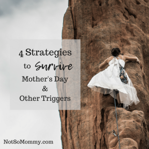 Photo of a woman in a white dress who is rock climbing on 4 Strategies to Survive Mother's Day & Other Triggers on Not So Mommy..., a Childless Blog