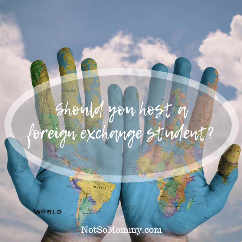 Photo of two hands with a map of the world on them on Should you host a foreign exchange student on Not So Mommy...