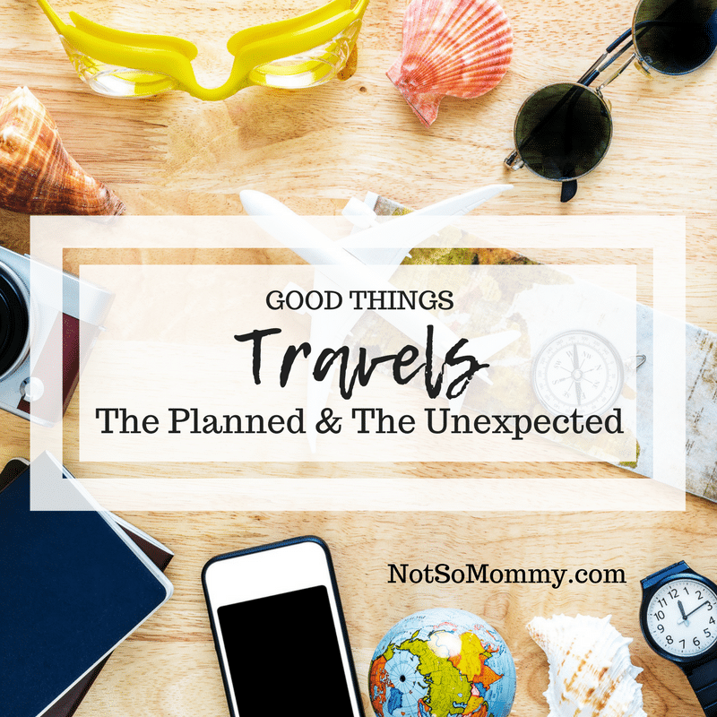 Photo of traveling items such as map, passport, and camera on Good Things: Travel - The Planned & The Unexpected on Not So Mommy..., a Childless Blog