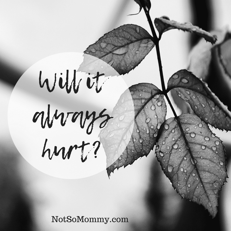 Black and white photo of leaves with raindrops on them on Will it always hurt on Not So Mommy..., a childless blog