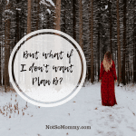 Photo of a woman wearing a red dress, standing in the snow and looking towards a forest on But what if I don't want Plan B? on Not So Mommy..., a Childless Blog