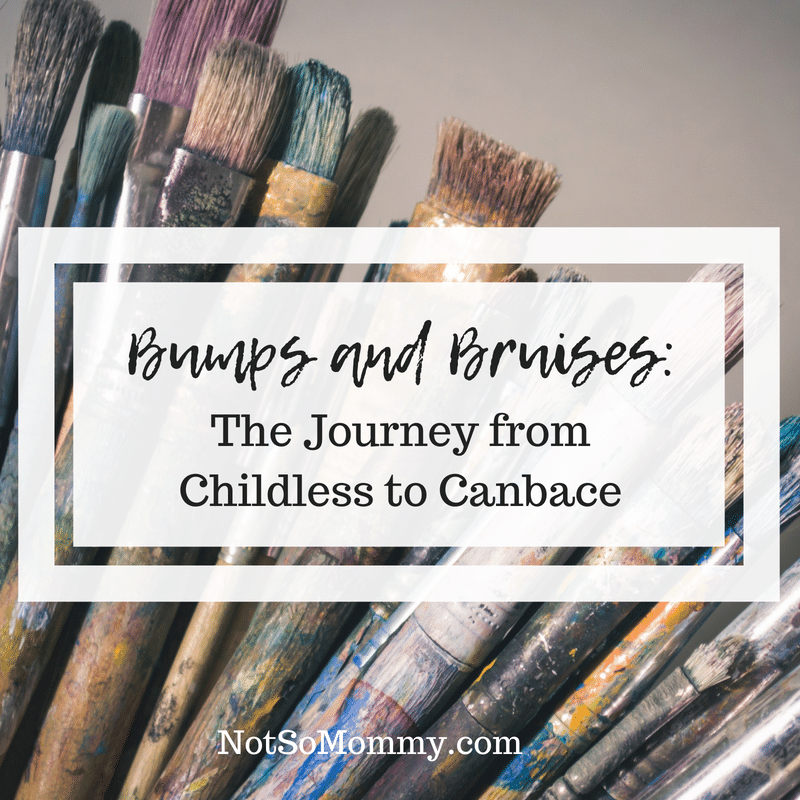 Photo of used paintbrushes over various sizes, stained with different colors of paint on Bumps and Bruises: The Journey from Childless to Canbace on Not So Mommy...