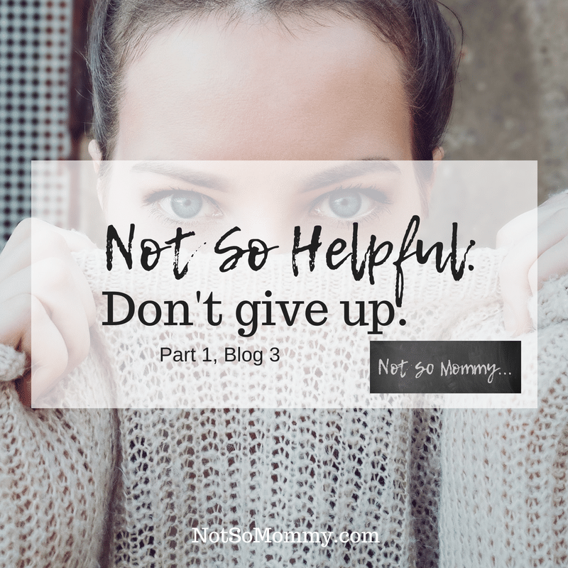 Photo of a woman holding a sweater over her mouth on Not So Helpful Advice: Don't give up on Not So Mommy..., a childless blog