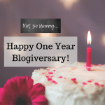 Photo of a cake with a single lit pink candle on Happy One Year Blogiversary on Not So Mommy..., a childless blog