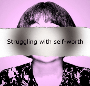 "Photo of a woman with the caption ""Struggling with self-worth"" blocking out her face on a blog by Nicci Fletcher"