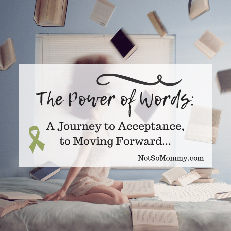 Photo of a woman sitting on a bed and flipping her hair back with books flying all around her on The Power of Words: A Journey to Acceptance, to Moving Forward on Not So Mommy..., a childless blog