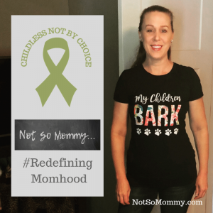 "Photo of Brandi Lytle, founder and owner of Not So Mommy... wearning her ""My Children Bark"" t-shirt"