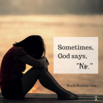 "Photo of a woman with her head down, sitting on a dock overlooking the water on ""Sometimes, God says, 'No.'"" on Not So Mommy..., a childless blog"