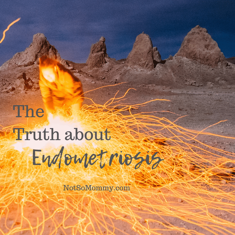 """Photo of a person standing amidst fire on """"The Truth about Endometriosis,"""" on Not So Mommy..., a childless blog"""