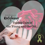 Photo of an elderly woman's hand and a young woman's hand, both touching a beautiful, red rose on Redefining: Taking Care of the Young and the Old on Not So Mommy..., a childless blog