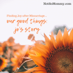 Photo of a sunflower on Our Good Things: Jo's Story, where Jo tells Not So Mommy... how she found joy after miscarriage