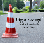 Photo of a roadside caution cone on Trigger Warnings don't automatically mean bad on Not So Mommy..., a childless blog