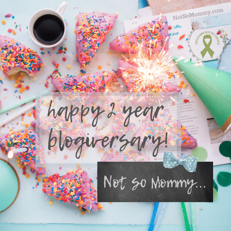 Photo of slices of cake with sprinkles, party hats, and candles on Happy Two Year Blogiversary, Not So Mommy..., an infertility and childless blog