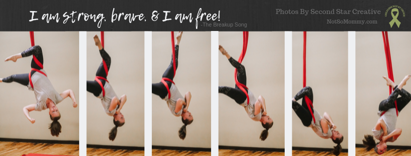 Photo of Brandi Lytle, founder of Not So Mommy..., doing a bomb drop during her performance at Skyward Aerial Arts and MAYA Movement Arts Student Showcase