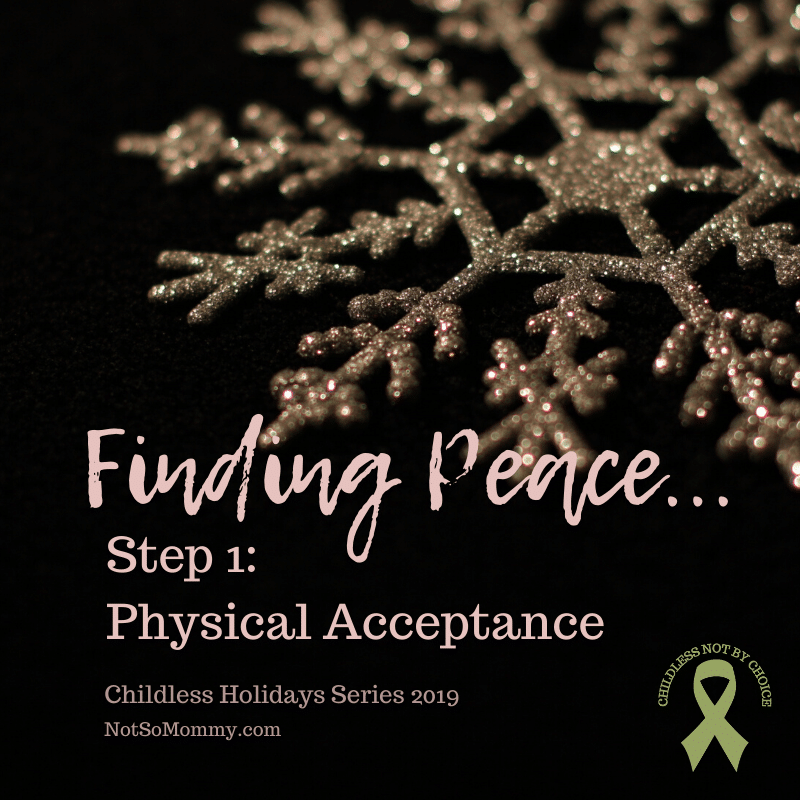 Photo of a gold snowflake on a black background on Finding Peace in Childlessness: Step 1 - Physical Acceptance on Not So Mommy..., a childless blog