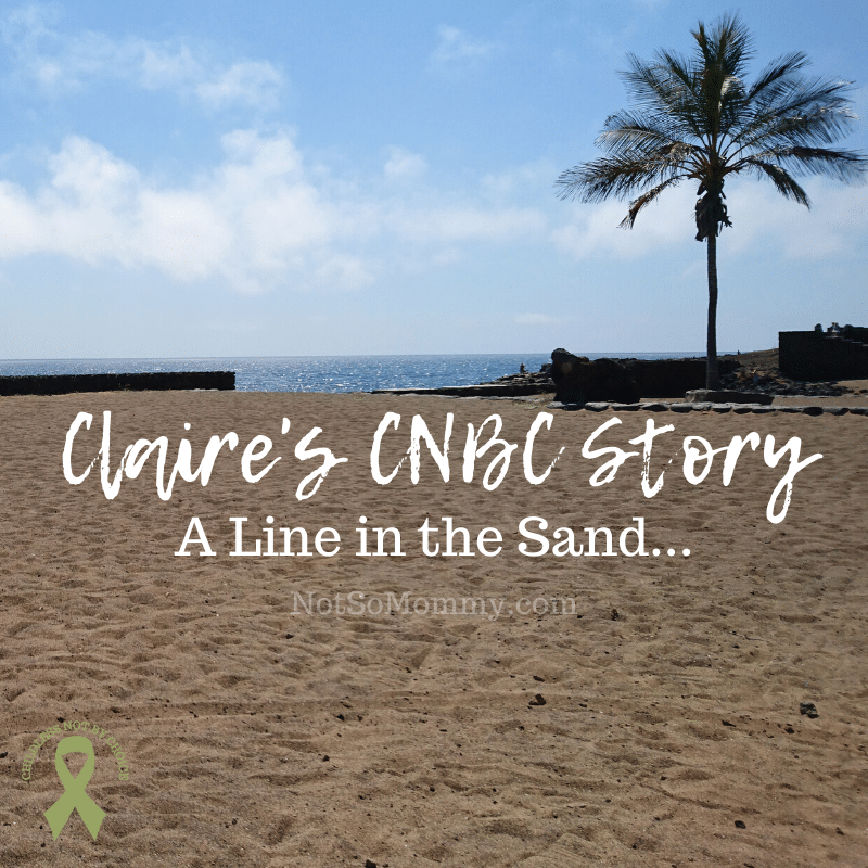 Photo of a sandy beach with a line drawn in the sand on Claire's CNBC Story: A Line in the Sand on Not So Mommy..., a childless blog