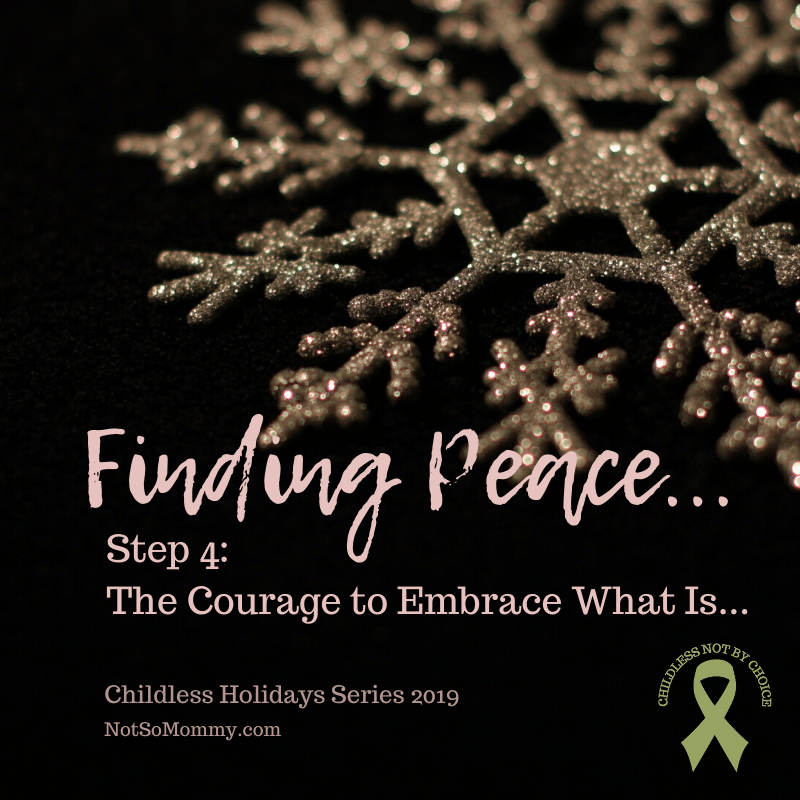 Photo of a gold snowflake on a black background on Finding Peace in Childlessness: Step 4 - The Courage to Embrace What Is on Not So Mommy..., a childless blog