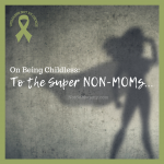 "Black and white photo of the shadow of a woman wearing a cape on ""On Being Childless: To the Super Non-Moms..."" on Not So Mommy..., a childless blog"