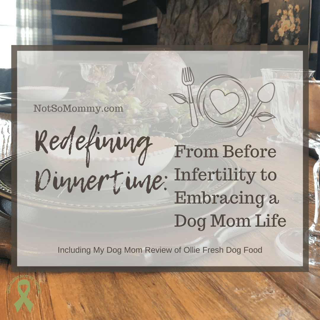 Photo of our dinner table on Redefining Dinnertime: From Before Infertility to Embracing a Dog Mom Life, on Not So Mommy..., an infertility & childless not by choice blog