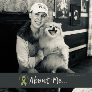 Photo of Brandi Lytle, founder of Not So Mommy..., with her fur baby, Maddie, on Not So Mommy..., an infertility & childless blog