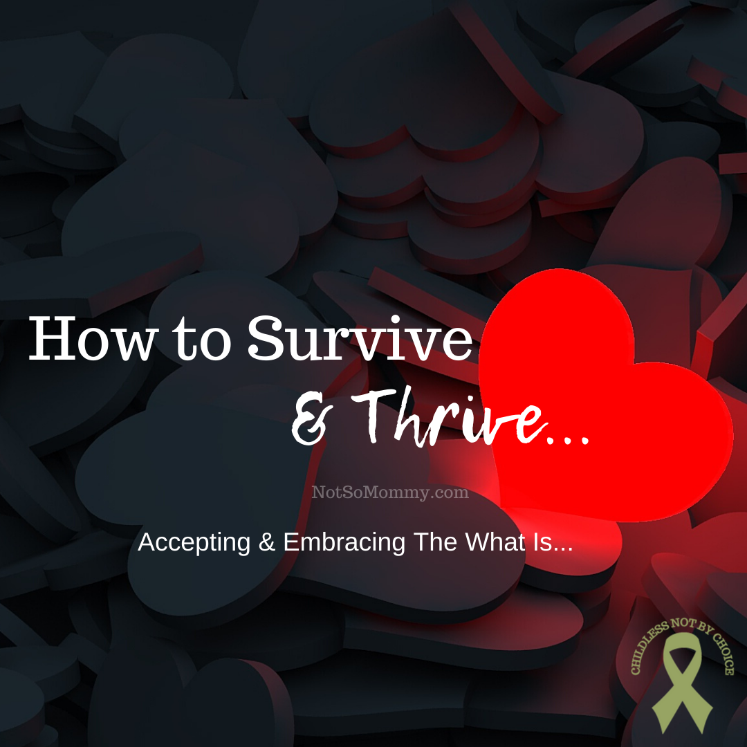 "Photo of multiple black hearts with one glowing red heart on ""How to Survive & Thrive: Accepting & Embracing The What Is..."" on Not So Mommy..., an infertility & childless blog"