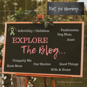"Photo of a chalkboard on ""Explore The Blog,"" on Not So Mommy..., an infertility & childless blog"