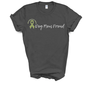 Dog Mom Proud TShirt with olive green Childless Not By Choice Awareness Ribbon, sold at Not So Mommy..., an infertility & childless blog