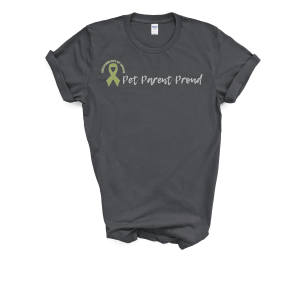 "Photo of ""Pet Parent Proud"" tshirt with olive green Childless Not By Choice Awareness Ribbon on Not So Mommy..., a childless blog"