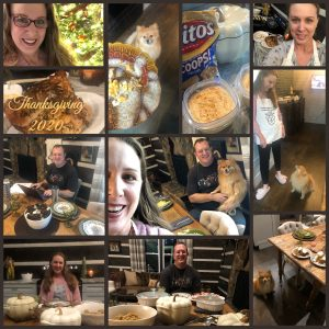 Photo Collage of Thanksgiving 2020, as celebrated by Brandi Lytle, founder of Not So Mommy..., and her non-traditional family