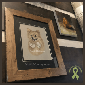 Photo of Maddie's framed custom charcoal pet portrait on Not So Mommy..., an infertility, childless, & dog mom blog