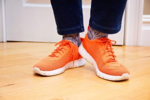 Photo of Orange Tennis Shoes worn by Sue, of the In-Fertility Advocate, during the Walk of Hope