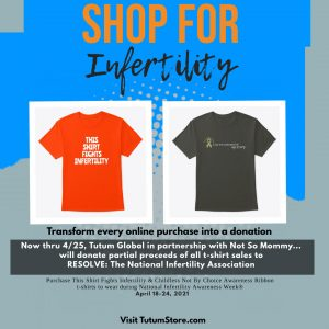 Photo of t-shirts offered by Tutum Global and Not So Mommy..., partial proceeds of sales donated to RESOLVE