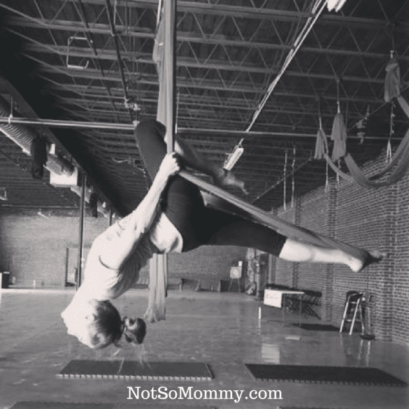 Black & White Photo of aerial dance pose on Take Care of Yourself Uniquely Me Blog on Not So Mommy