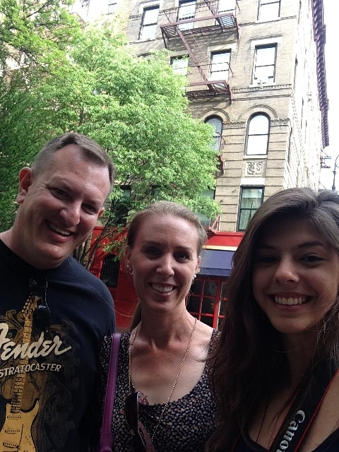Photo of Brandi, Dane, & Bruna in front of the Friends apartment in NYC on Not So Mommy... Photo Gallery