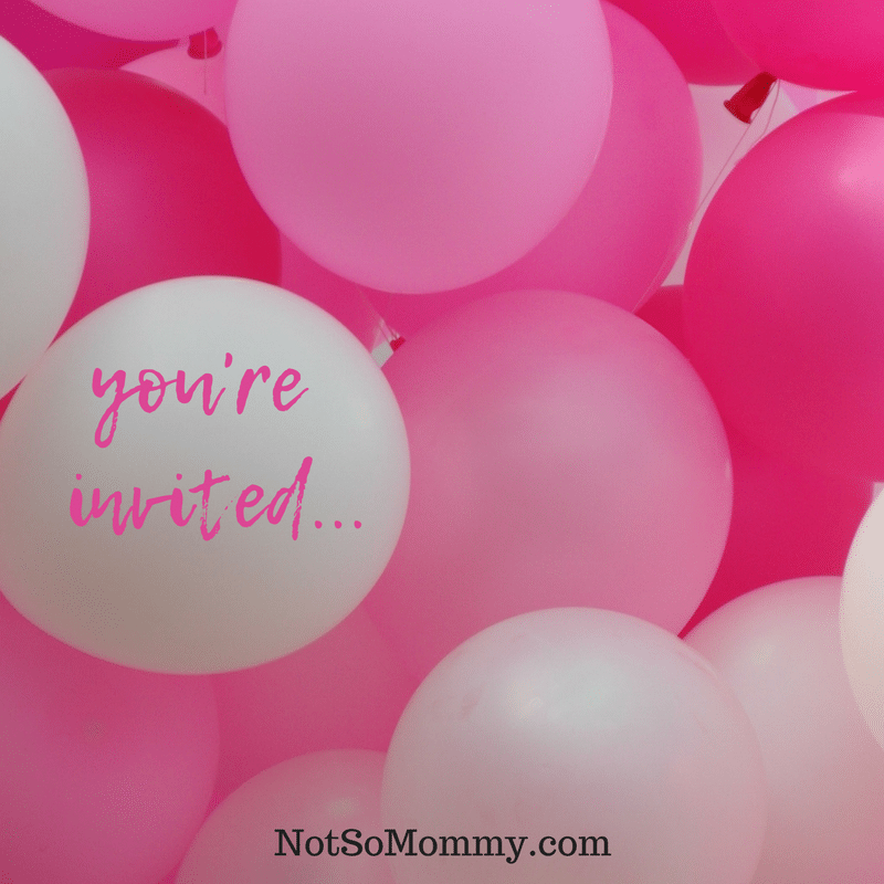 """Photo of pink and white ballons with """"you're invited"""" written on white balloon on Baby Showers and Pregnancy Announcements: Not So Joyous for Some Infertility Blog on Not So Mommy"""