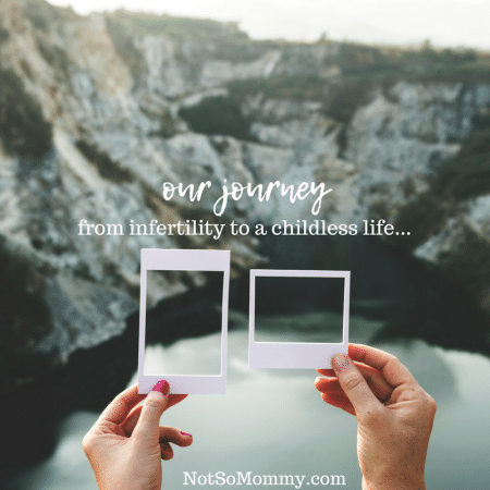 Photo of a woman's hand and a man's hand holding a polaroid with the picture cut out and holding it against a lanscape on Our Journey Page of Not So Mommy...